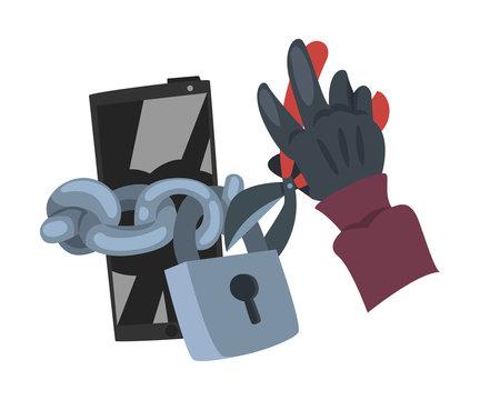 Data Theft. Hacker Wearing Gloves Breaking into Smartphone Vector Illustration