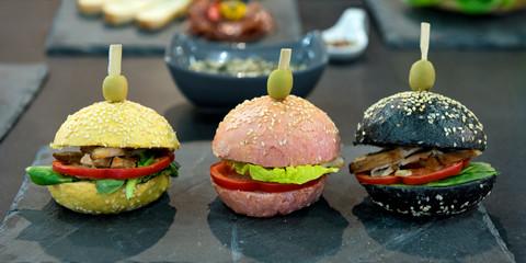Burger, vegan, bunt, Gemüse