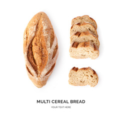 Creative layout made of multi cereal bread on white background. Flat lay. Food concept. Macro concept.