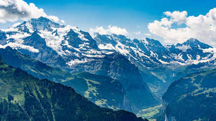 Switzerland, Panoramic view on green Alps and Lauterbrunnen from Schynige Platte