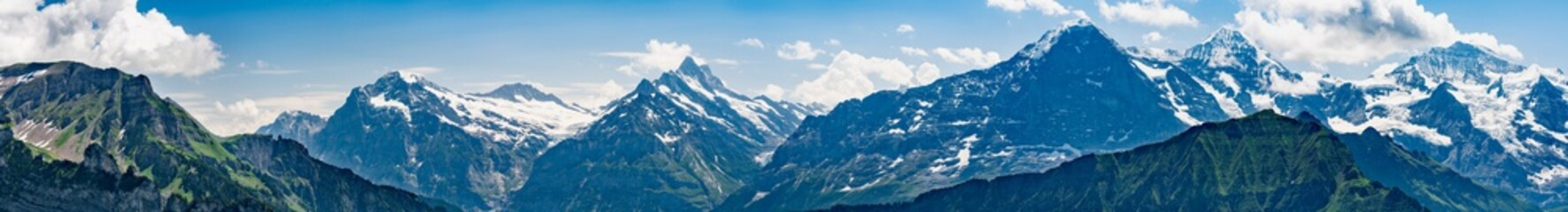 Switzerland, Panoramic view on green Alps from Schynige Platte