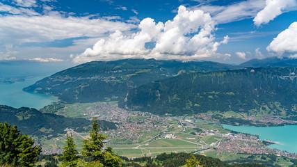 Switzerland, Panoramic view on Interlaken from Schynige Platte