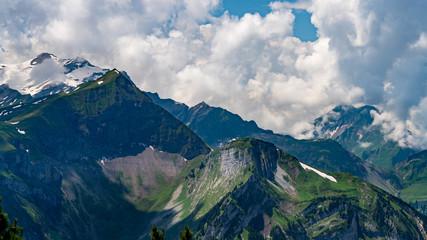 Switzerland, Panoramic view on green Alps and Sulegg peak from Schynige Platte