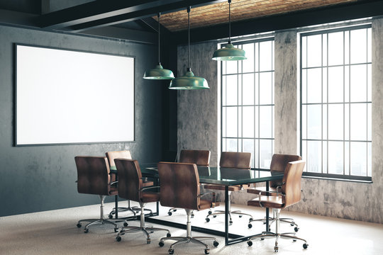 Blank banner in conference room