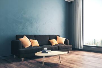 Modern concrete living room