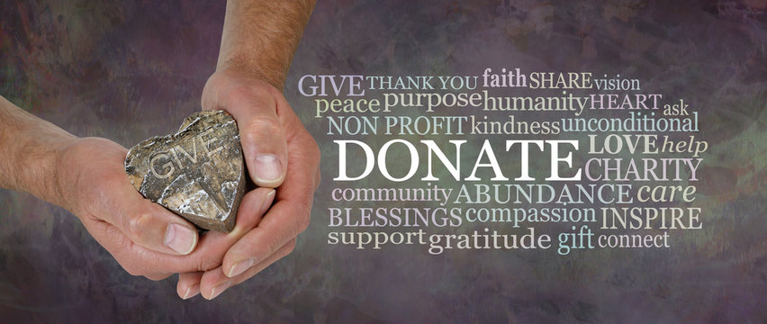 Donate from the Heart Word Cloud - male hands holding a rustic wooden heart beside a DONATE word cloud against a masculine grunge rustic stone effect earth coloured background