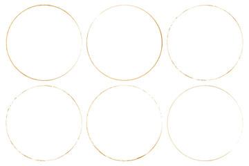 gold round brush frames on transparent background