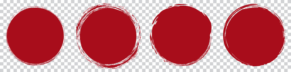 red round brush painted circle banner on transparent background