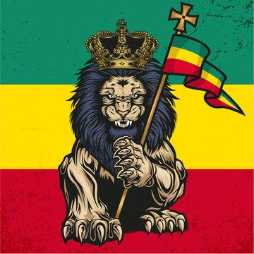 Lion Of Judah  Marijuana Cannabis Smoke  Rastafa Red Green yellow Vector