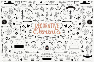 Big collection of decorative elements: banners, arrows, leaves, flowers, flourishes