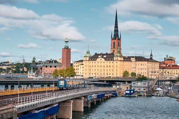 Türaufkleber Stockholm The Landscape of Stockholm city with railway, Sweden