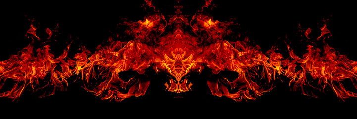 Fire flames on Abstract art black background
