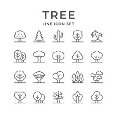 Set line icons of tree