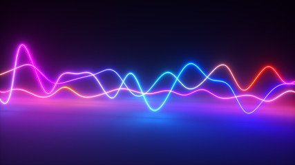 Spoed Fotobehang Abstract wave Colorful bright neon glowing graphic equalizer. Ultraviolet signal spectrum, laser show, energy, sound vibrations and waves. 3d illustration