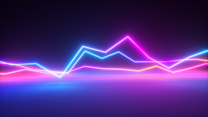 Bright colorful glowing neon lines. Abstract musical equalizer background, graph, diagram, drawing, curve, chart. Modern ultraviolet blue purple color cpectrum.3d illustration