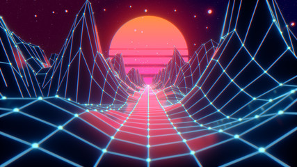 Retro futuristic flight in space with a polygonal mesh on the generated hills and floor. Concept 80s 90s. Fantastic abstract neon background. 3d illustration