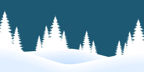 christmas landscape background with firs and snow