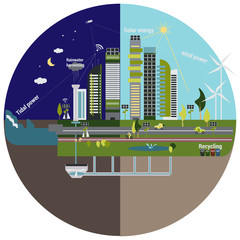 vector illustration of living in the city using natural resources of energ