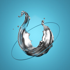 3d render. Abstract modern minimal design. Liquid metal, silver splash, quicksilver splashing, going through the ring, isolated on blue background. Flying objects, levitation concept. Digital art