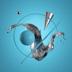 3d rendering. Abstract geometric primitives, liquid metal, silver splash, quicksilver splashing, isolated on blue background. Modern minimal design. Flying objects, levitation concept. Digital art