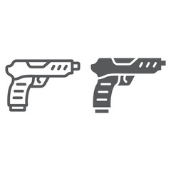 Pistol line and glyph icon, army and military, gun sign, vector graphics, a linear pattern on a white background.