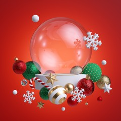 3d glass ball decorated with Christmas ornaments, isolated on red background. Blank mockup, empty space, poster mockup. Green balls, crystal stars, candy cane, snowflakes. Seasonal festive clip art