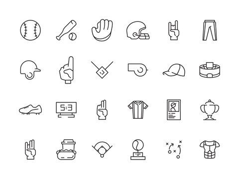 Sport baseball icons. Game symbols gloves field ball baseball bat vector. Ball and field for baseball, sport glove and bat illustration