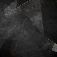 Wall Mural - Black grunge corporate abstract background with golden lines. Vector illustration