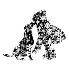 Vector silhouette of snowy girl with her dog on white background. Symbol of winter, child, pet, puppy, home, animal, season, snow, cold, snowflake, Christmas, frost.