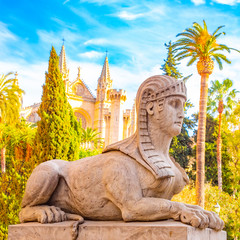 Statue of Sphinx in front of Mallorca Cathedral