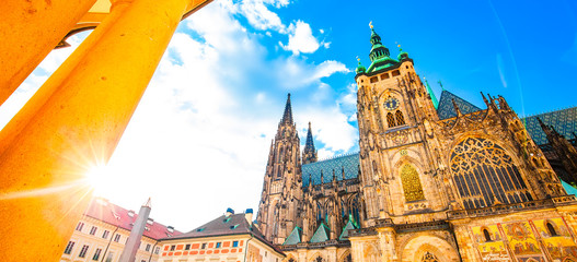 Wide panoramic view of St Vitus Cathedral, Prague