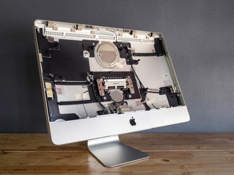 The disassembled Apple iMac computer body cover