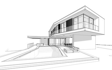 3d rendering of modern cozy house on the hill with garage and pool for sale or rent.  Black line sketch with soft light shadows on white background.