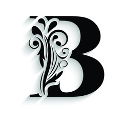 letter B. Black flower alphabet.  Beautiful capital letters with shadow