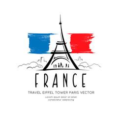 Eiffel tower flag of france sketching vector design background, illustration