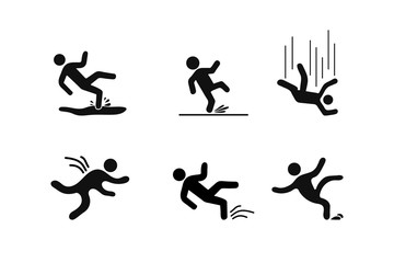 Set of Caution symbols with figure man falling. Wet floor, tripping on stairs, fall down from ladder. Workplace safety