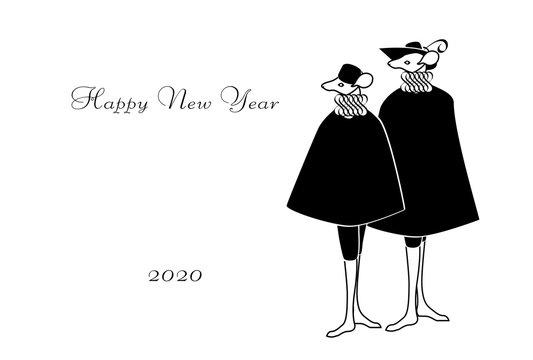 年賀状 コスチュームを着たネズミ カップル