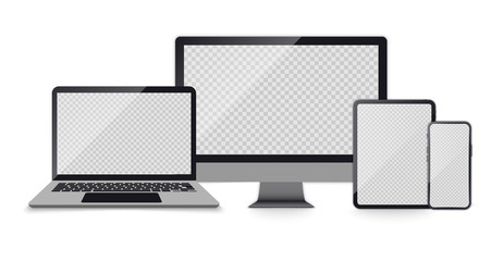 Realistic set of Computer Monitor, laptop, tablet, smartphone dark grey color. Realistic Set of Devices with empty screens. Electronic gadgets