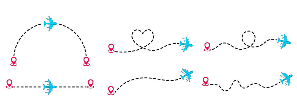 Aircraft routes dotted lines. Airplane track to point with dashed line way. Tourism and travel. Airplanes flight with dotted trace. Tourism and travel line trace with location