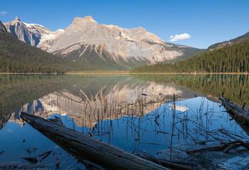 Mountains and reflections at Emerald Lake, Yoho National Park, Canada