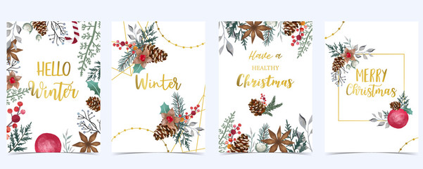 Wall Mural - Collection of Christmas background set with holly leaves,flower,geometric.Editable vector illustration for New year invitation,postcard and website banner