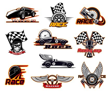 Car races, fast auto motor sport icons and street racing club emblems. Vector sportcar bolid with burning fire flame and wings, speedometer and engine valve, rally drift drag races start flag