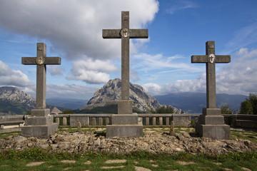 Viewpoint Mirador de las Tres Cruces in Urkiola National Park in Spain,Europe