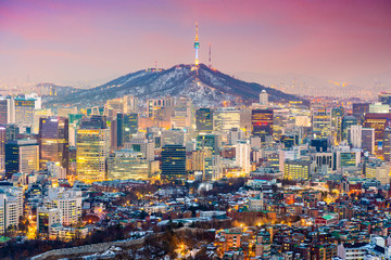 Fototapete - Seoul, South Korea Cityscape