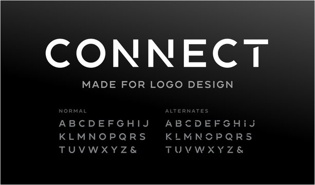 Minimalistic font for logo design. Vector alphabet with two sets of letters.