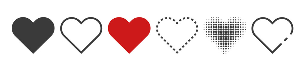 Heart, love, symbol vector. Romance or valentines day red colored isolated