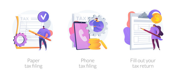 Revenue declaration ways, convenient methods, reporting on paper and by phone. Paper tax filing, phone tax filing, fill out your tax return metaphors. Vector isolated concept metaphor illustrations.
