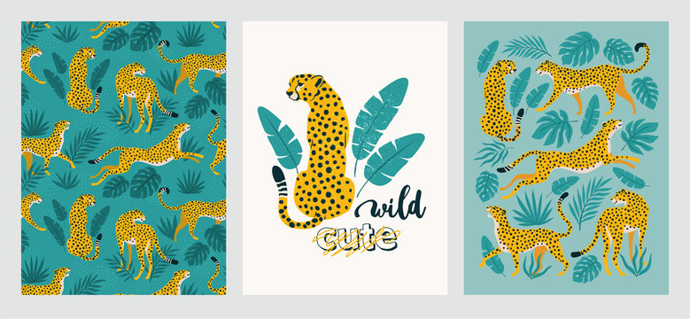 Vector poster set of leopards and tropical leaves. Trendy illustration.