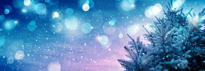 Winter Christmas background with fir tree branch and lights.