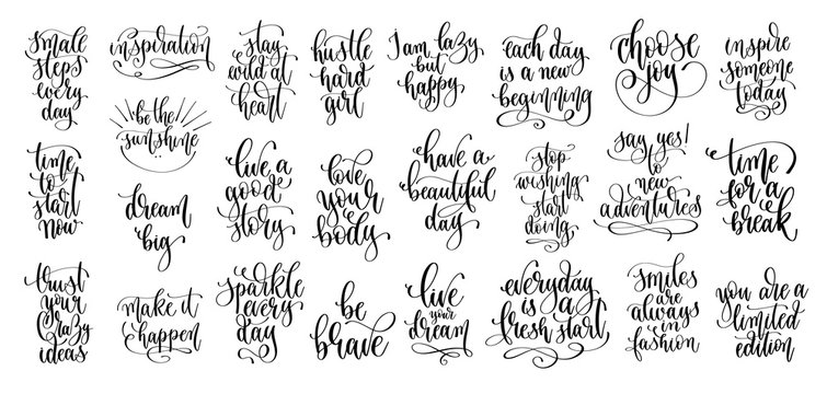 set of 25 hand lettering motivation and inspiration positive quote